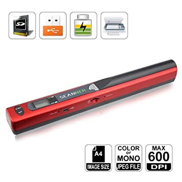 Mini Scanner A4 Document Handyscan Portable And Cordless Support Microsd Tf Card Red