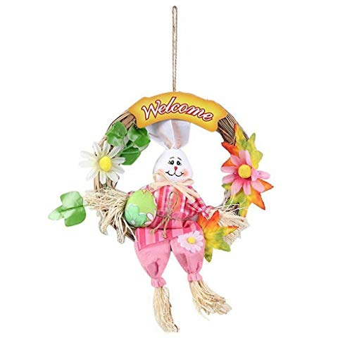 Exclusive to Easter, Easter Home Decoration Rabbit Wreath Scarecrow Pendant Wall Door Hanging Decoration -