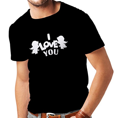 T Shirts For Men Cupid Angel Say I Love You Quotes (Large Black White)