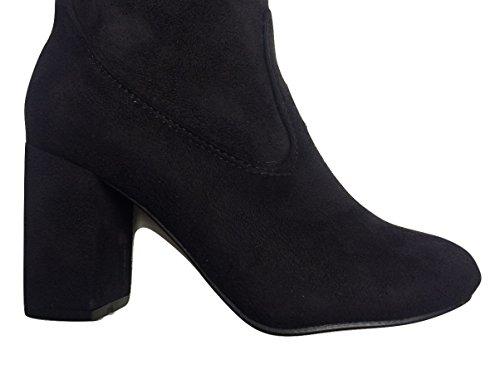 Black Suede Effect Microfibre Sturdy Heel Over Knee Boots vlIf0b