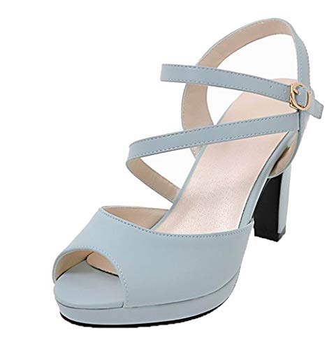 VogueZone009 Women Pu Buckle Open-Toe High-Heels Solid Sandals, CCALP015387 Blue