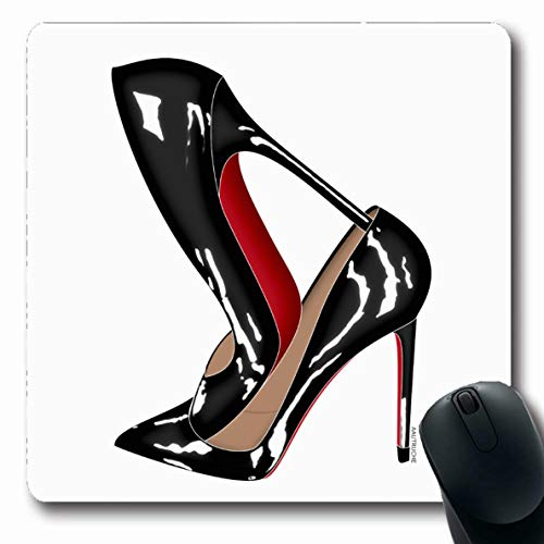 (Ahawoso Mousepads Red Bottoms Stilettos Shoes Black High Heels Oblong Shape 7.9 x 9.5 Inches Oblong Gaming Mouse Pad Non-Slip Rubber Mat)