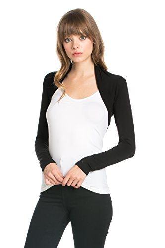Fashion Secrets Women`s Long Sleeve Rayon Cotton Bolero Shrug Cropped Cardigan Small Jacket (Medium, Black)
