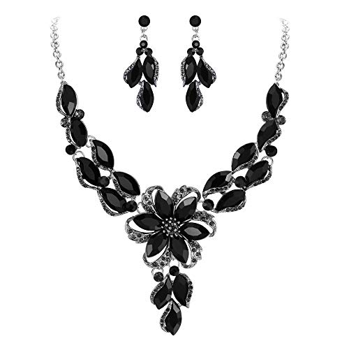 (BriLove Costume Fashion Necklace Earrings Jewelry Set for Women Crystal Peach Flower Enamel Statement Necklace Dangle Earrings Set Black Silver-Tone)
