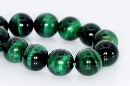 - 12mm Natural Green Tiger Eye Beads Grade Round Gemstone Loose Beads 7.5'' Crafting Key Chain Bracelet Necklace Jewelry Accessories Pendants