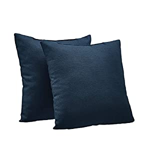 AmazonBasics 2-Pack Textured Weave Decorative Throw Pillows – 18″ Square, Black
