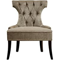 Pulaski Button Tufted Upholstered Dining Chair in Elizabeth Platinum, Silver