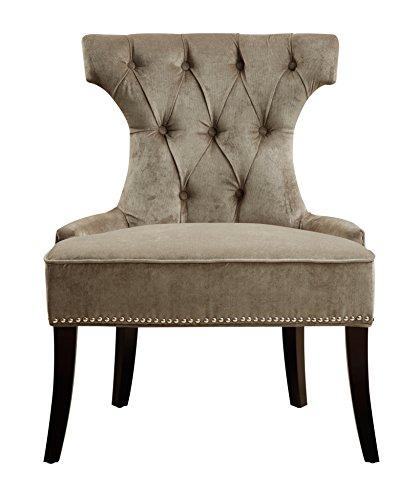Pulaski Button Tufted Upholstered Dining Chair in Elizabeth Platinum, Silver
