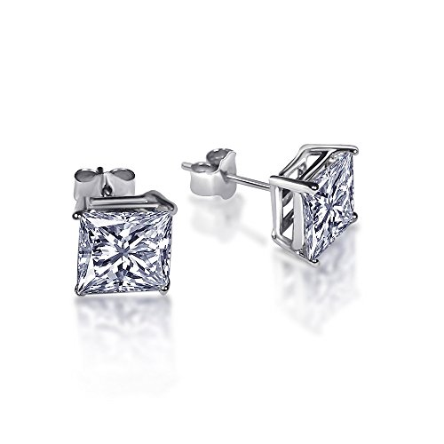 Princess Cut CZ Square 925 Sterling Silver Cubic Zirconia Stud Earrings (sterling-silver, 4 carats) (Square Design Sterling Silver)