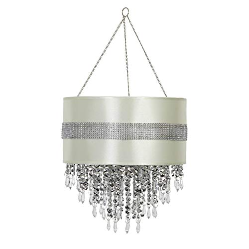 """Exhart Chandelier – Chandelier Light w/Classic Silver Design & Rhinestone Crystals, LED Decorative Light, Automatic Timer Light Up, Battery Powered Lighting, Hanging Home Decor (12""""L x 12""""W x 24""""H)"""