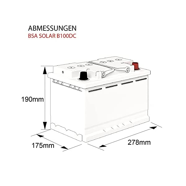 41WVJhbWDSS BSA Solar DC 12V 100Ah Batterie Solarbatterie Versorgungsbatterie Boot Wohnmobil - 6 Grössen (100Ah)