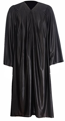 GraduationMall Unisex Economy Shiny Graduation Gown Only Black Small 45(5'0