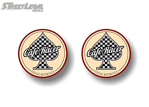 (2 Cafe Racer Checkered Flag Spade Vintage Edition Motorcycle 3