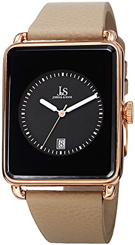 Joshua & Sons Men's JS95RGTN Rose Gold Quartz Watch with Black Dial and Tan Leather Strap