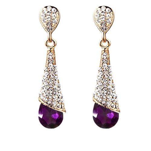 Calors Vitton Gold Plated Full Rhinestone Cubic Zircon Long Water Drop Earrings for Women Dark Purple (Purple Full Rhinestones)