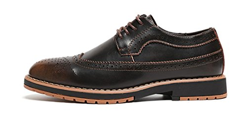 MHB Men's Genuine Brogue Pointed Toe Perforated Wingtip Oxford Shoes Dress British Style 9.5in - Triathalon British
