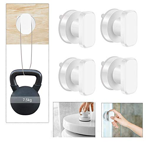 ALLOMN Strong Hold Suction Cup Safety Handle Safe Grip Door Handle Bathroom Window Toilet Knob Handle, White (Pack of 4) ()