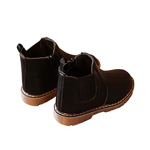 Haodasi Winter Kinder Schuhe Jungen Mädchen Martin Stiefel Casual Vintage Reißverschluss Flache Schuhe Schwarz
