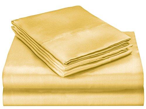 - Elaine Karen Soft Silky Satin Queen Bed Sheet Set, Gold