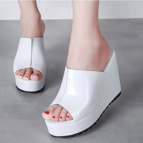 Xing Lin Ladies Sandals Slippers Female Summer Slope With Slippers Thick Heel Sandals Open Toe Fish Mouth Female Sandals Waterproof Taiwan White