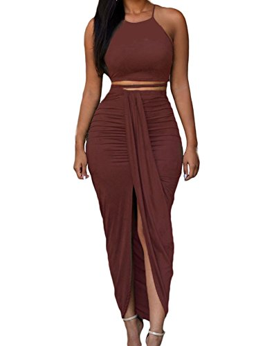 Womens Sexy Cotton Sleeveless Slit Two Piece Maxi Skirt Set L Date Red