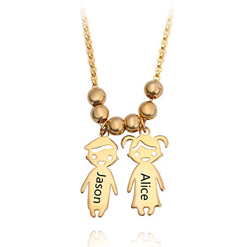 rongji jewelry Personalized Children Charms Mothers Necklace - Name Engraved Boy Girl Charm Necklace, Creative ()