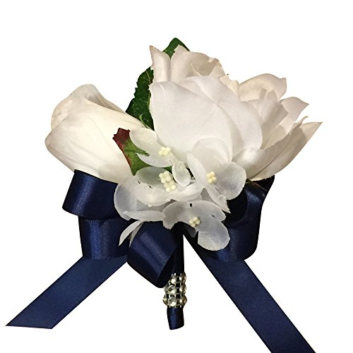 Hydrangea Ribbon (Corsage/boutonniere-artificial Roses and Hydrangea with Navy Blue Ribbon Bow.)