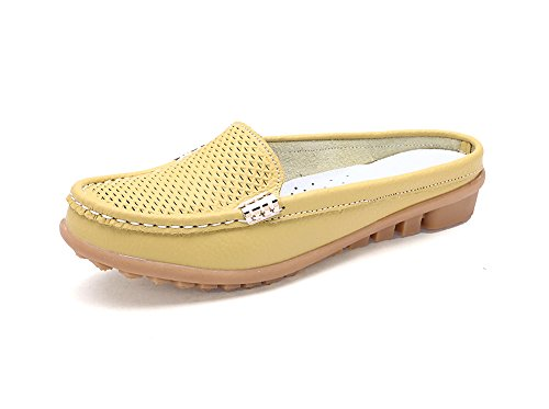 Verocara Women's Leather Cowhide Slippers Beach Sandals Yellow 7 B(M) US