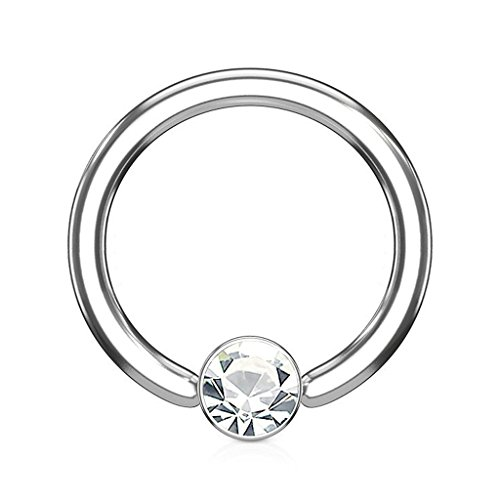 Fifth Cue 16G Crystal Set Round Flat Cylinder Captive 316L Surgical Steel Hoop Ring (Clear)
