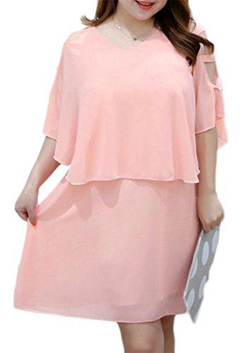 Senza Maniche Elegante Collo Delle Donne Mantello Vestito V Cromoncent Del Chiffon Tagliato Rosa nXp4qB4
