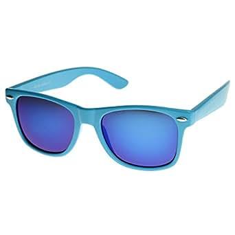 zeroUV - Retro Bright Horn Rimmed Sunglasses with Colorful Mirrored Lenses - UV400 (Blue)