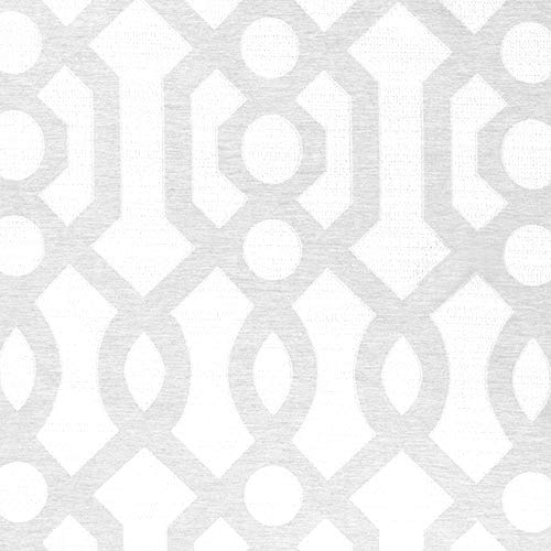 Jacquard Curtains for Living Room 63 inch Length Trellis Geometric Pattern White Light Filtering Window Curtains for Bedroom Privacy Opaque Window Treatment Set, Grommet Top, 2 Panels