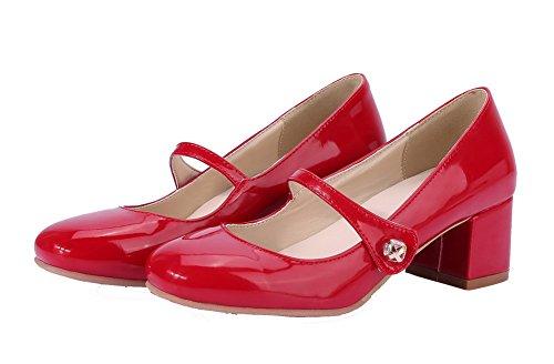 Kattunge Tå Voguezone009 sko Hæler Patent Runde Pumper Kvinners Røde Lukket Lær ywXcCX1Ygq