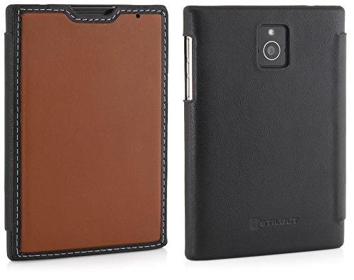 StilGut Book Type, Genuine Leather Case for BlackBerry Passport, Brown & Black Nappa by StilGut (Image #4)
