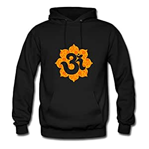 Informal Diatinguish Om_floral_orange Cotton Hoodies X-large Women Black