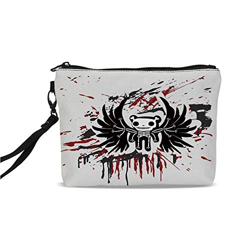 Halloween Simple Cosmetic Bag,Teddy Bones with Skull Face and Wings Dead Humor Funny Comic Terror Design for Women,9