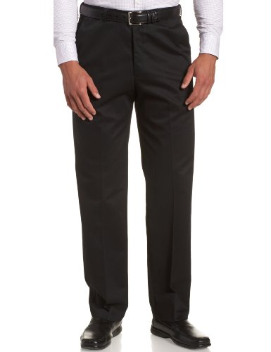 Haggar Men's Work To Weekend Hidden Expandable Waist No Iron Plain Front Pant,Black,44x29