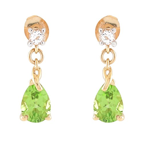 10k Two-Tone Gold Real Peridot and White Topaz Accented Ladies Dangling Earrings ()