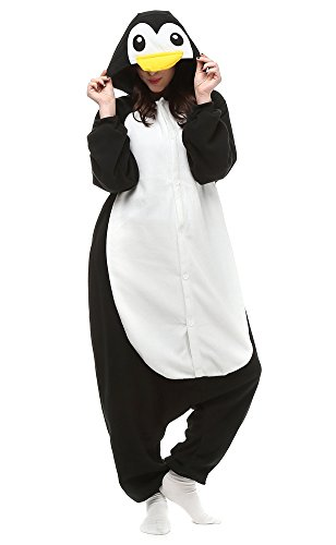 Famycos Halloween Costumes Pyjamas Unisex Animal Cosplay Onesie for All Family Black Penguin (Mother Daughter Costumes)