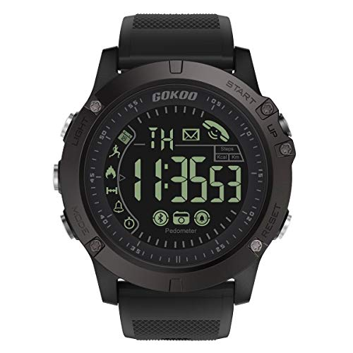 Sports Smart Watch, GOKOO S10 Pro Digital Outdoor Sports Smartwatch for Men with Pedometer, Calorie Counter, Distance, Stopwatch, Waterproof, Notifications Compatible with Android and iOS Phones