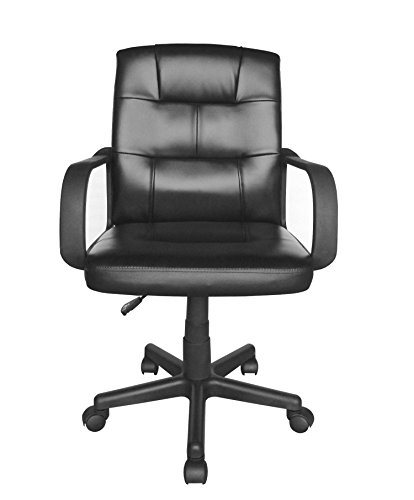 Urban Shop WK655635 Tufted Leather Executive Office Chair, Black