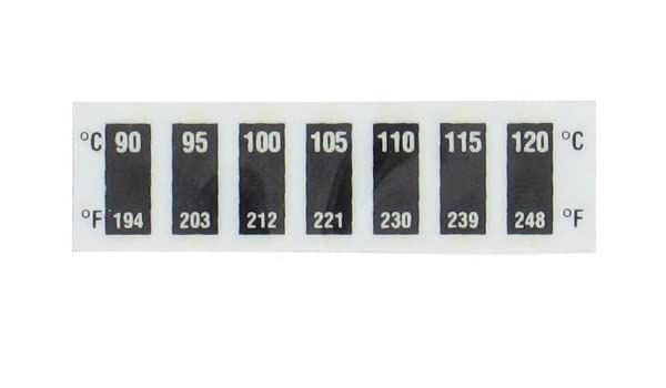 60C-90C//140-194F; 10//Pk Digi-Sense Reversible 7-Point Horizontal Temperature Label