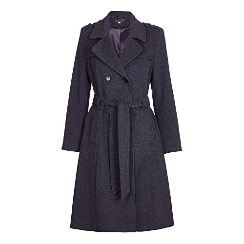 De La Crème - Womens Wool & Cashmere Belted Long Military Trench Coat Gris