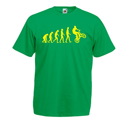T shirts for men Human Evolution and Bike - Bicycling – Bicycle accessories, cycling apparel (Small Green Multi Color)