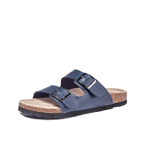 TF STAR Adjustable Women Buckle Strap Navy Flat Casual Cork Slide Sandals,Slide Cork Footbed Arizona Sandals for - Sandal Womens Arizona