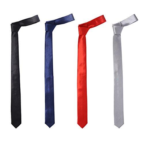 4 Pack Men's Solid Color Slim Skinny Tie 2