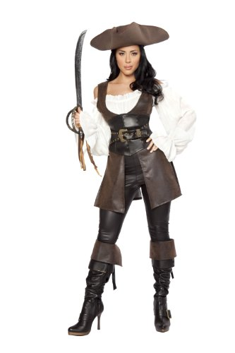Roma Costume Deluxe 6 Piece Swashbuckler Pirate Costume, Black/White/Brown, Large (6 Piece Costume)
