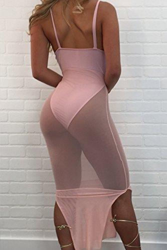 Vestido de Cóctel de pura Bodycon Vestido de profundo escote en v de las mujeres Pink