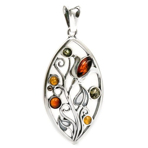 Sterling Silver Multicolor Baltic Amber Fantasy Floral Elven Tree Pendant
