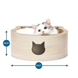 Necoichi Cat-headed Scratcher Bed (Birch, Regular)